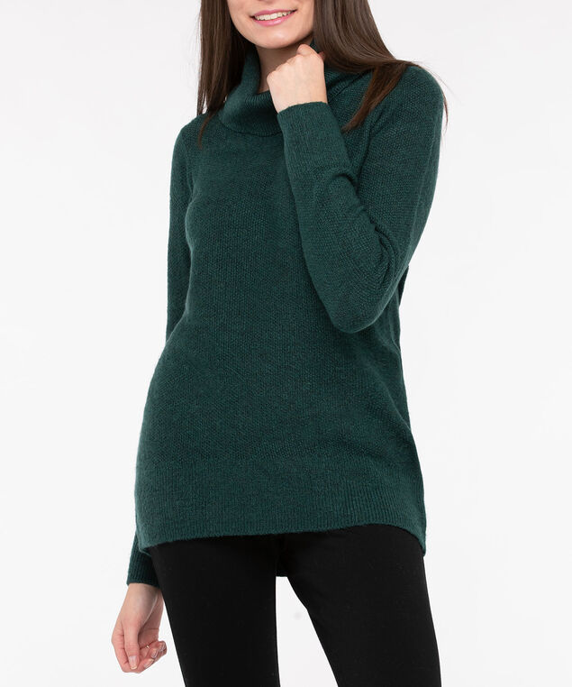 Funnel Neck High-Low Sweater, Deep Green, hi-res