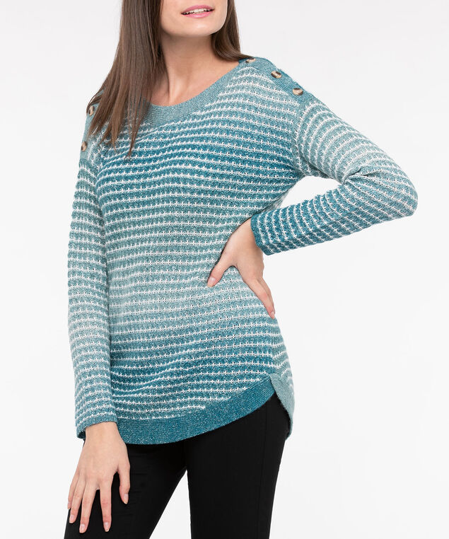 Button Boatneck Ombre Sweater, Teal/Pearl, hi-res