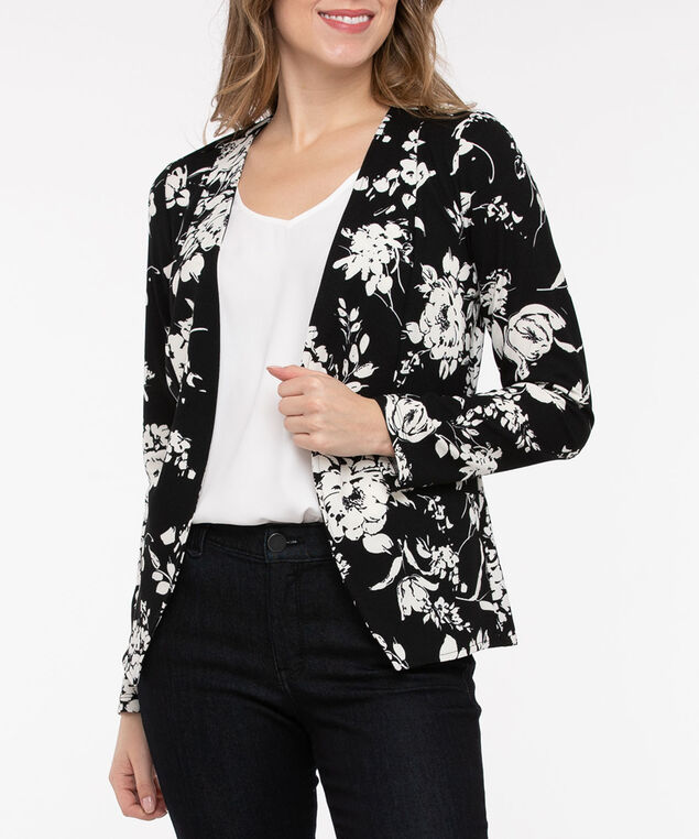 Floral Textured Open Front Blazer, Black/Pearl, hi-res