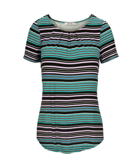 Pleat Neck Short Sleeve Top, Black/Teal/Iced Violet/Blue, hi-res