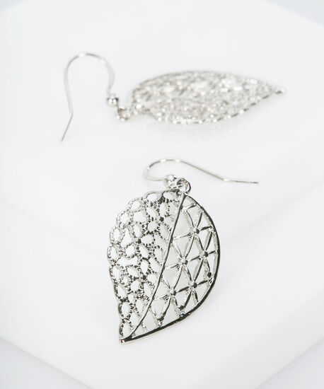 Filigree Floral Leaf Earring, Rhodium, hi-res