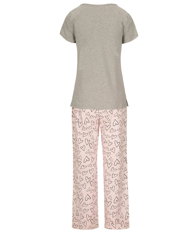Coffee & Donut Pajama Set, Grey/Pink/Black, hi-res