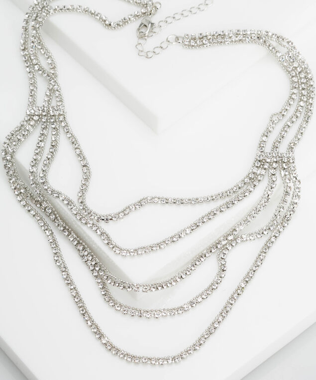Multi Row Crystal Pave Necklace, Rhodium, hi-res