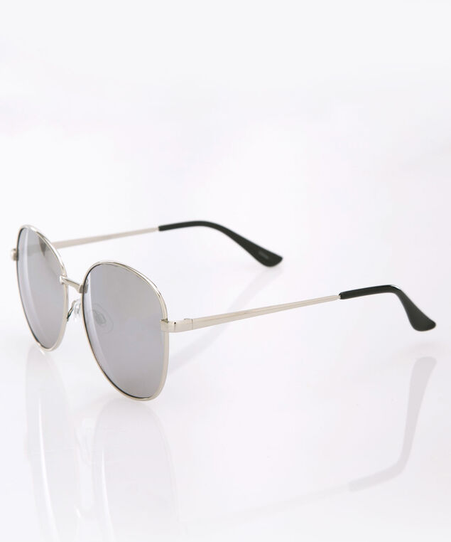Round Grey Metal Sunglasses, Grey/Silver, hi-res