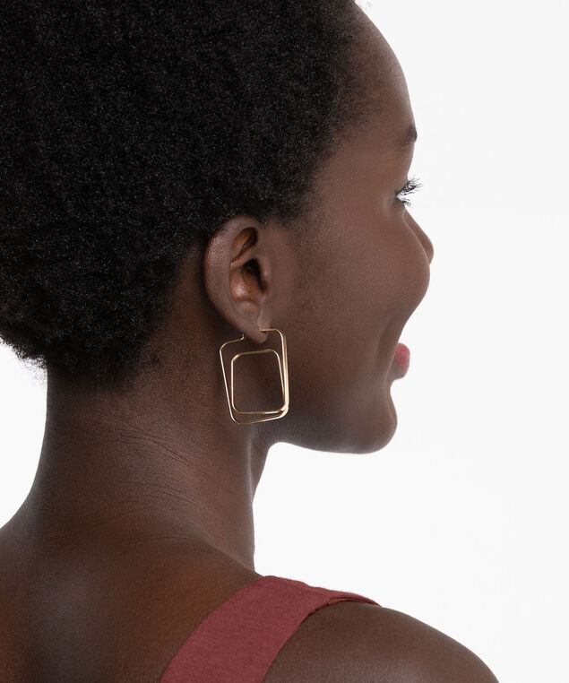 Gold Geo Hoop Earring, Gold