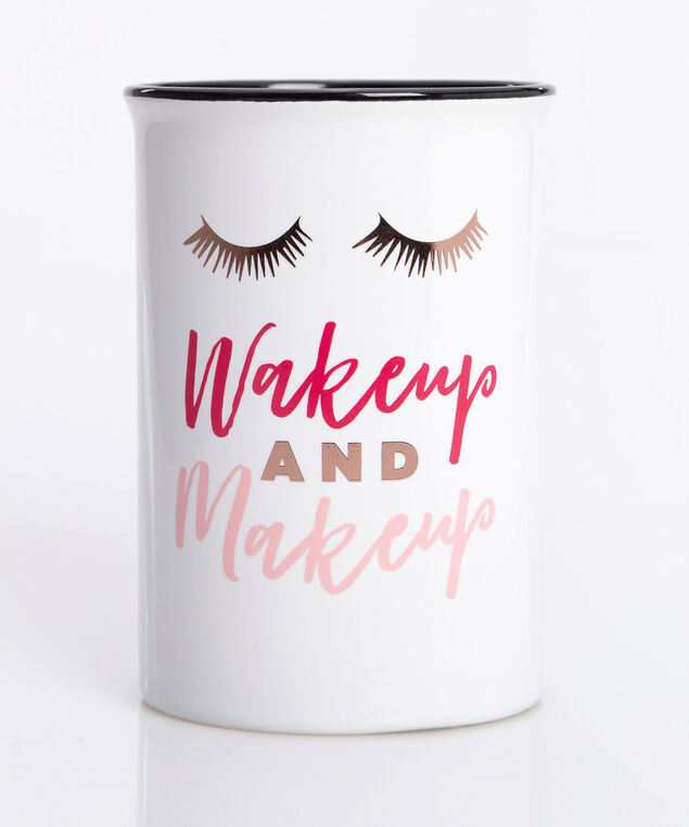 Wake Up & Makeup Ceramic Brush Holder, Pearl/Bright Pink/Dusty Pink, hi-res