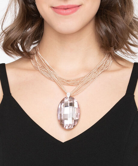 Large Faceted Stone Statement Necklace, Rose Gold/Dusty Pink, hi-res