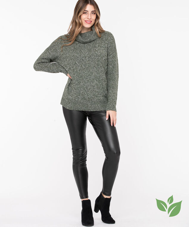 Eco-Friendly Cable Knit Sweater, Olive Mix, hi-res