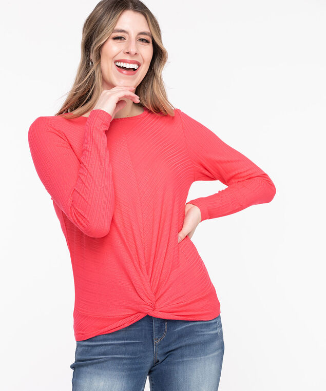 Long Sleeve Twist Front Top, Rouge Red