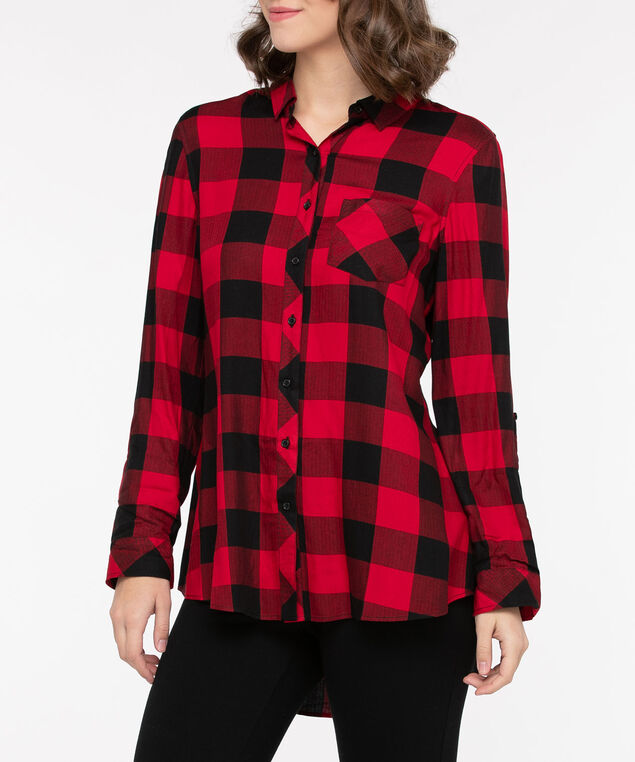 Plaid Button Front Collared Shirt, Crimson/Black, hi-res