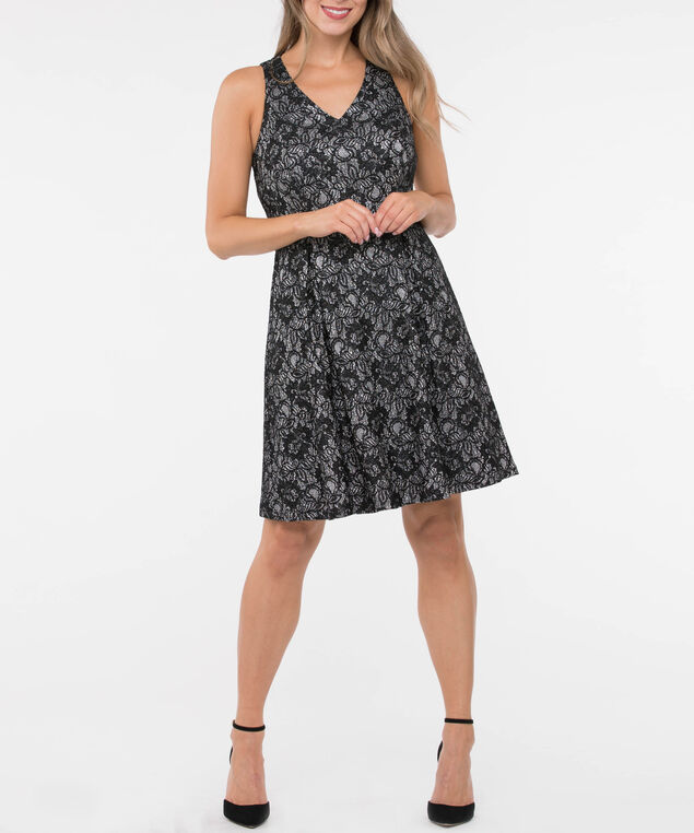 Sleeveless Glitter Lace Fit & Flare Dress, Black/Silver, hi-res