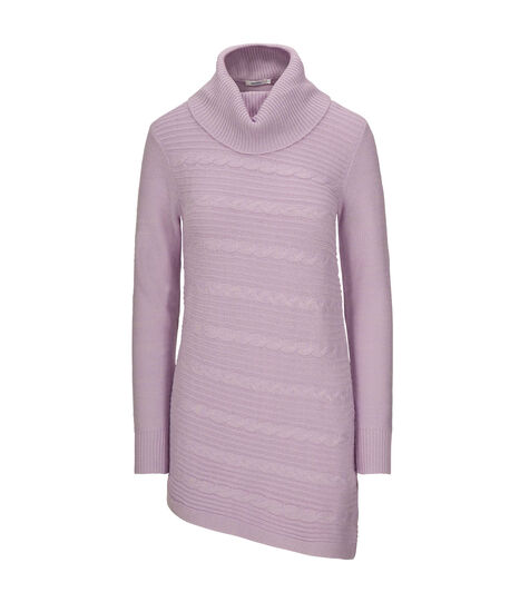 Asymmetrical Cowl Neck Sweater, Iced Violet, hi-res