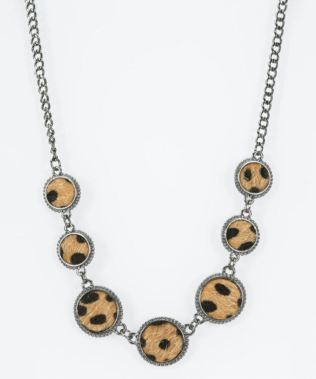 Textured Leopard Statement Necklace, Hematite/Almond/Black, hi-res