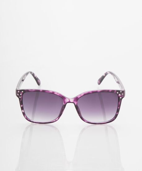 Printed Crystal Wayfarer Sunglasses, Black/Purple, hi-res