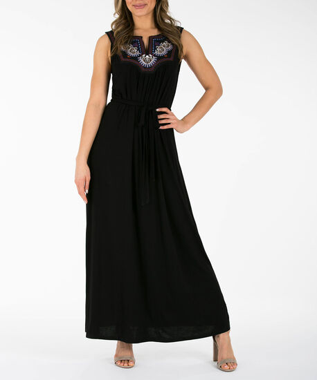 Embroidered Gauze Maxi Dress, Black, hi-res