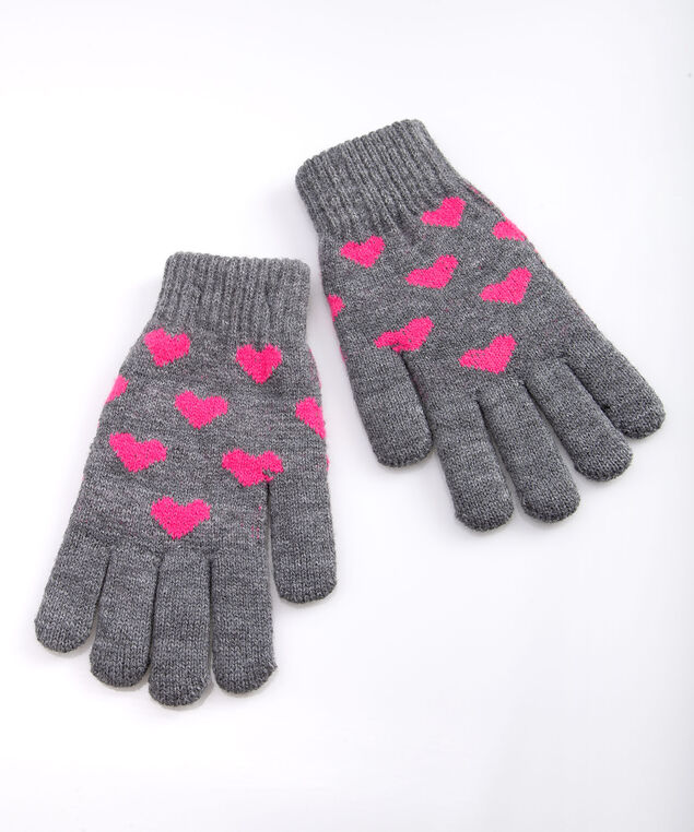 Heart Chenille Lined Gloves, Mid Heathered Grey/Bright Pink, hi-res