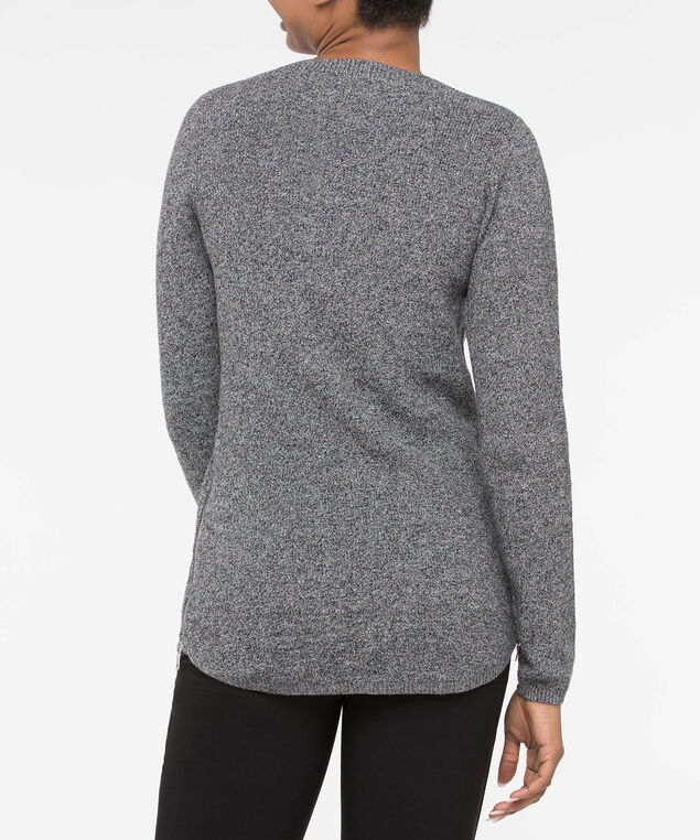 Scoop Neck Zipper Detail Sweater, Black Mix, hi-res