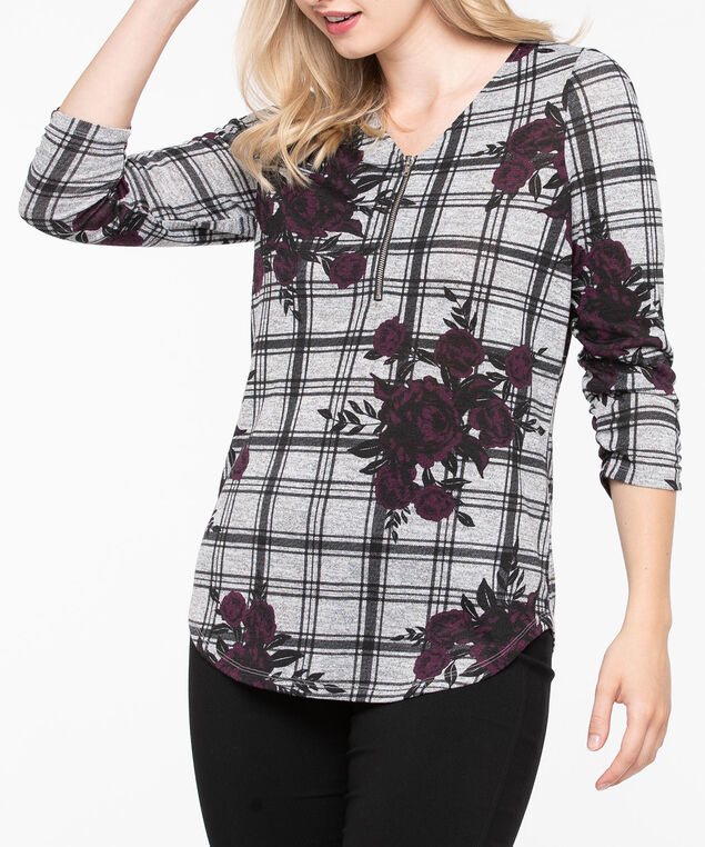 Zipper Front 3/4 Sleeve Top, Heathered Charcoal/Black/Plum, hi-res