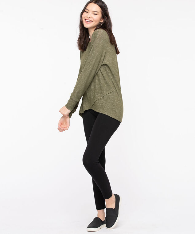 Tulip Hem Lightweight Knit Top, Olive Mix, hi-res