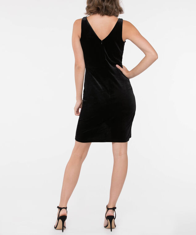Sleeveless Black Velvet Wrap Dress, Black, hi-res