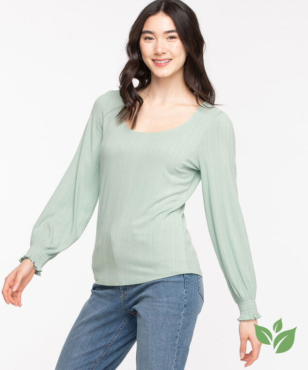 EcoVero™ Ribbed Lantern Sleeve Top, Gray Mist