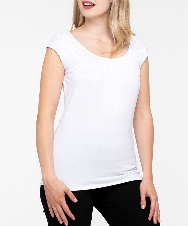 Smocked Neck Extended Sleeve Tee, Pearl, hi-res