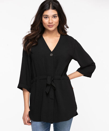 V-Neck Tie Waist Tunic, Black, hi-res