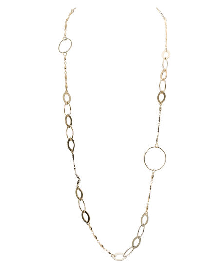 Mixed Metal Oval Link Necklace, Rhodium/Soft Gold, hi-res