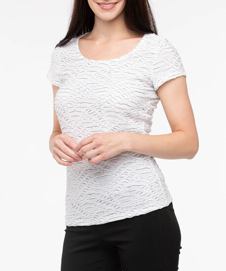 Textured Short Sleeve Scoop Neck Top, Pearl Mix, hi-res