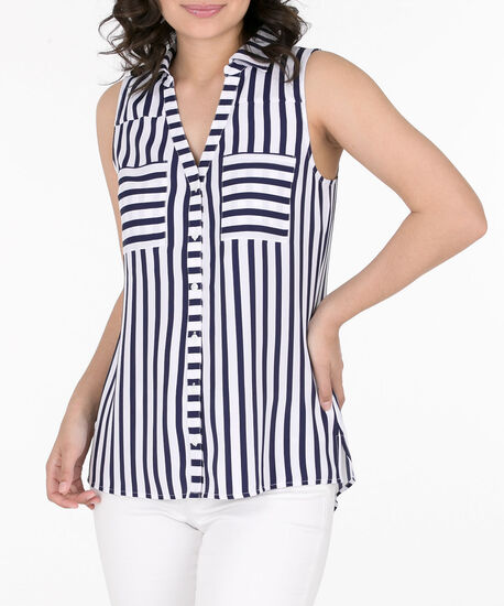 Sleeveless Button-Front Collared Shirt, Summer Navy/White, hi-res
