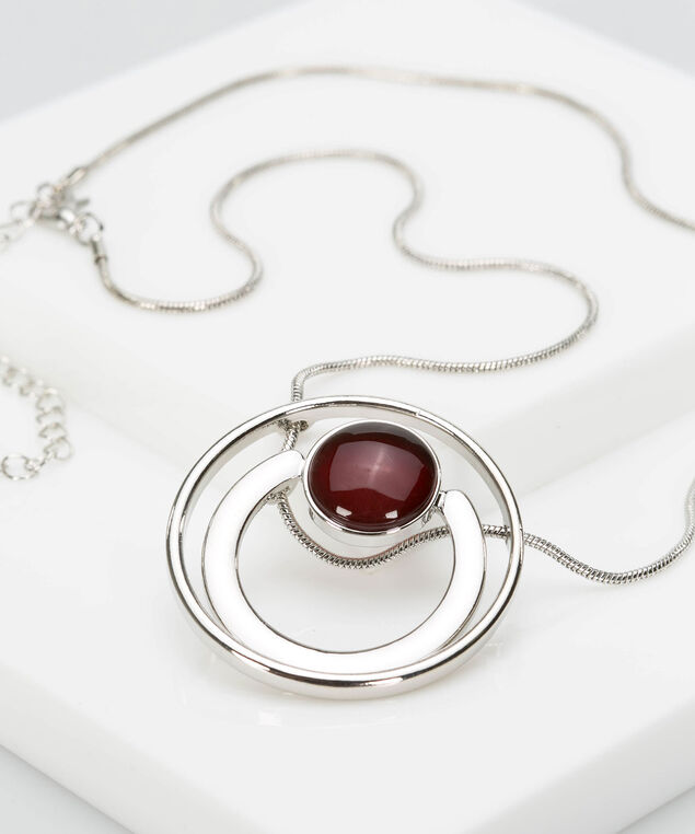 Double Circle Cateye Statement Necklace, Rhodium/Burgundy, hi-res
