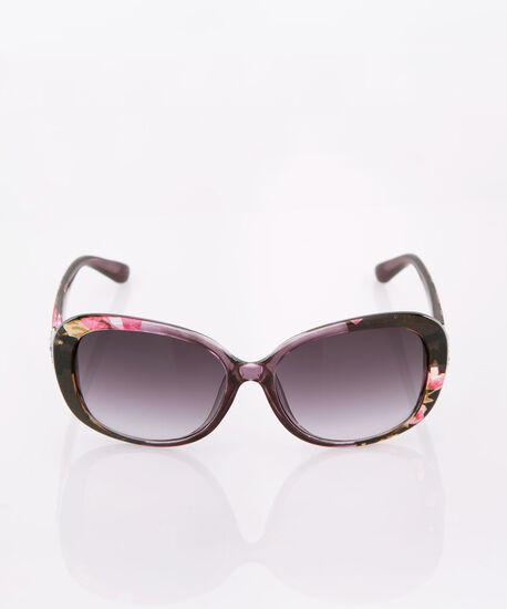 Floral Printed Sunglasses, Black/Pink, hi-res