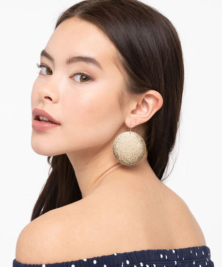 Sanded Metal Disc Earring, Gold, hi-res