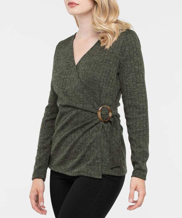 Long Sleeve Ribbed Faux Wrap Top, Ivy, hi-res
