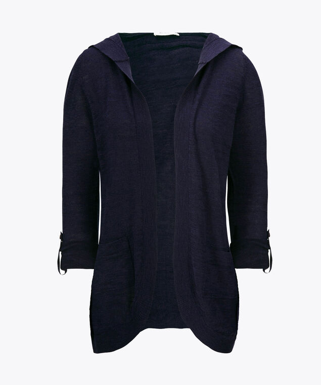 Hooded Roll-Sleeve Cocoon Cardigan, Deep Sapphire, hi-res