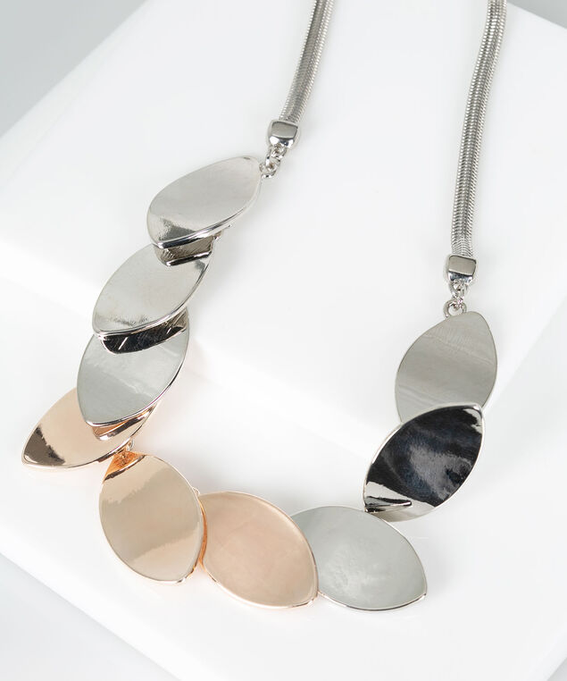 Mixed Metal Teardrop Statement Necklace, Rhodium/Rose Gold, hi-res