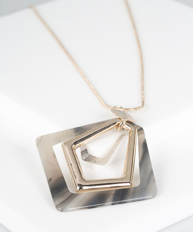Resin Diamond Shape Pendant Necklace, Gold/Grey, hi-res