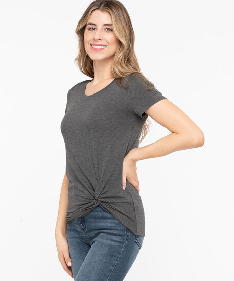 Knot Front Short Sleeve Top, Mid Heather Grey, hi-res