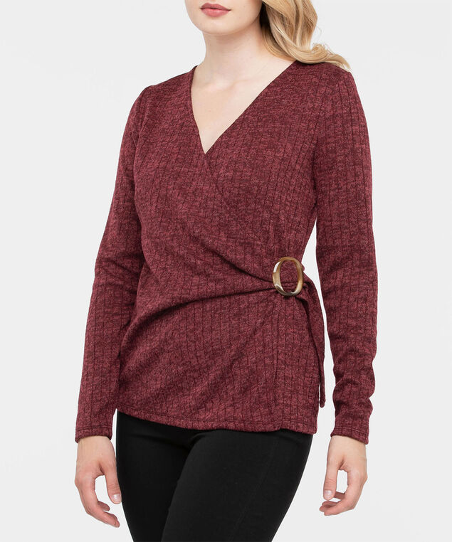 Long Sleeve Ribbed Faux Wrap Top, Burgundy, hi-res