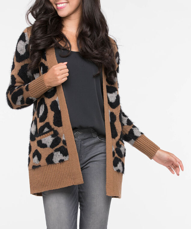 Leopard Print Open Cardigan, Camel/Grey/Black, hi-res