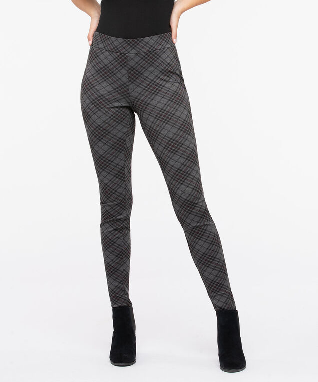 Diamond Plaid Ponte Legging, Charcoal/Burgundy/Black, hi-res
