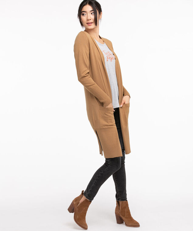 EcoVero™ Ribbed Duster Cardigan, Tobacco Brown