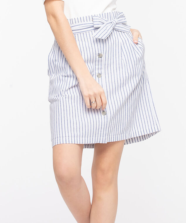 Tie-Waist Stripe Skirt, Light Blue/Pearl, hi-res