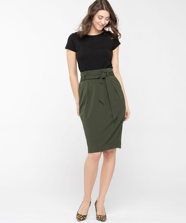 Paperbag Waist Pencil Skirt, Basil, hi-res