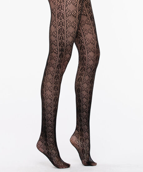 Fishnet Lace Pattern Tights, Black, hi-res