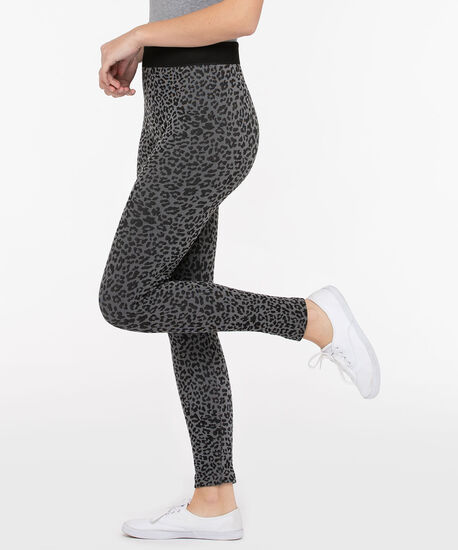 Animal Print Plush High Rise Legging, Grey/Black, hi-res