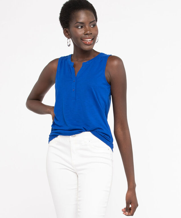 Sleeveless Henley Knit Top, Blue, hi-res