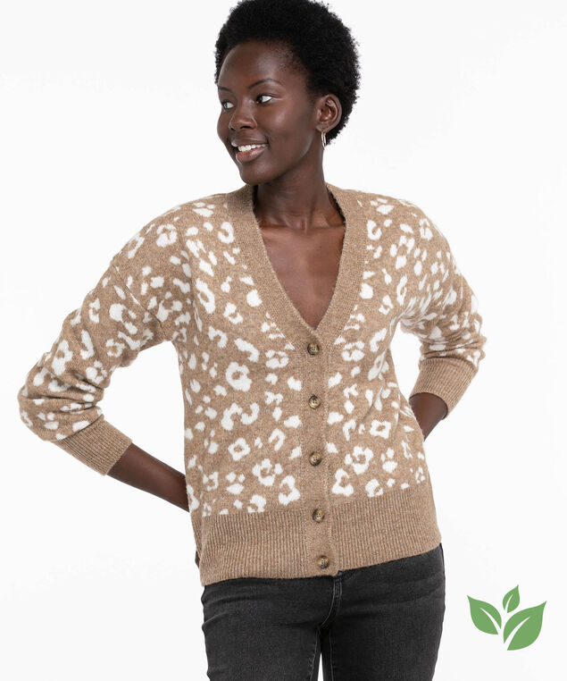 Eco-Friendly Button Front Cardigan, Tobacco Brown/Ivory Animal Print