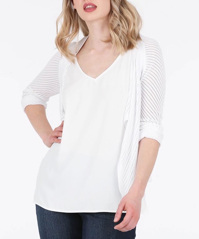 Pointelle Drape Front Cardigan, Pearl, hi-res