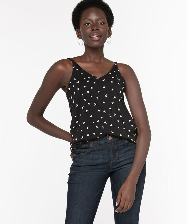 Strappy Dandelion Print Double-V Top, Black/Ivory, hi-res